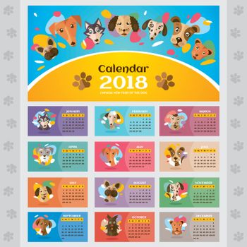 2018 year calendar with stylized dogs