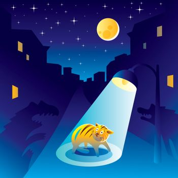 Frightened kitten at the night of the city