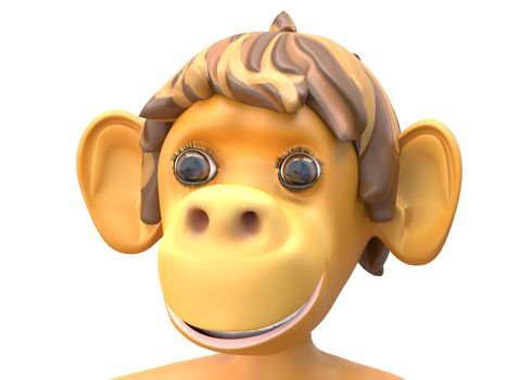 3D Illustration of a Surprised Monkey on White Background