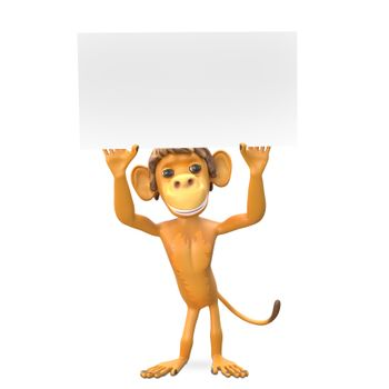 3D Illustration of a Monkey with a White Background on White Background