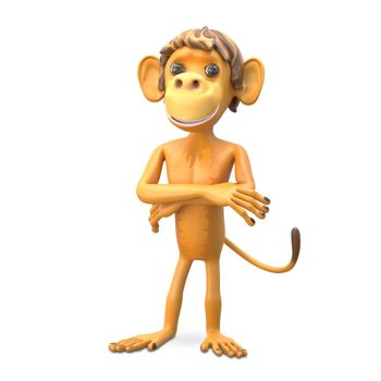 3D Illustration an Important Monkey on White Background