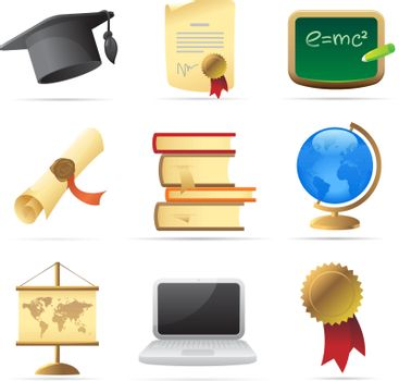 Icons for education. Vector illustration.
