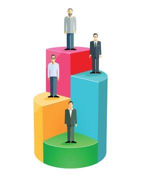 Concept with businessmen on chart, success, achievement, motivational symbol