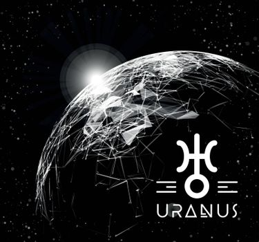 Planet Uranus in the form of polygonal mesh elements in the form of lines and points. The planet in astrology is responsible for modern technologies and innovations. Vector illustration