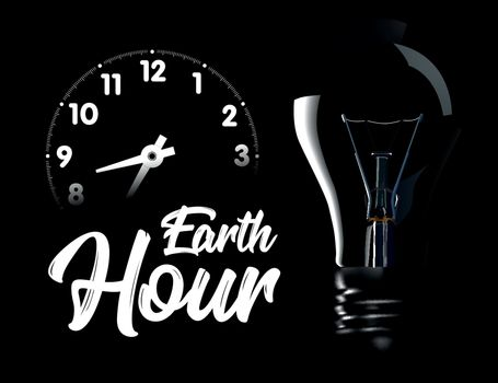The Earth Hour is an international action calling for the switching off of light for one hour for environmental assistance to planet Earth. Vector illustration on black