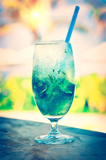 Sweet refreshing cocktail on the beach