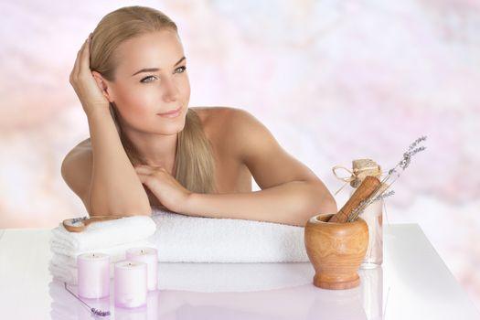 Nice female at the spa salon