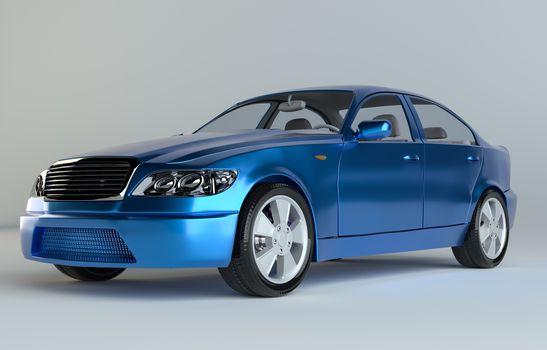 Three-Dimensional Blue Sedan Studio Shot