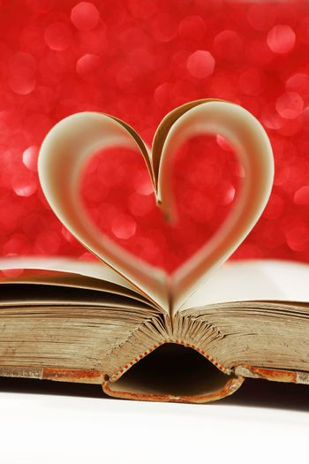Heart made from book pages, love reading, Valentines day concept