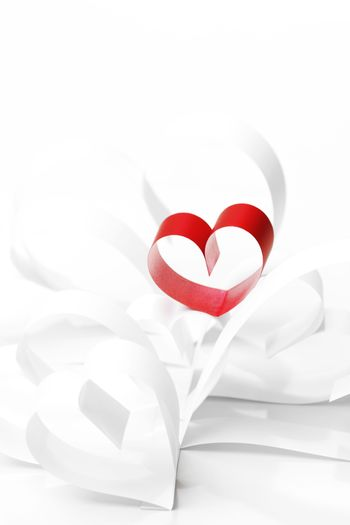 Paper ribbon hearts on white background, Valentines day concept