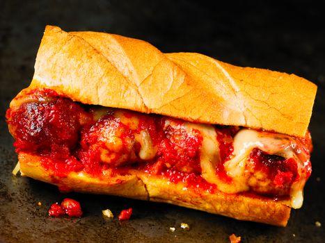 rustic american italian meatball sandwich