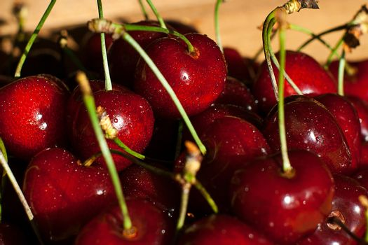 Fresh juicy cherry on the table