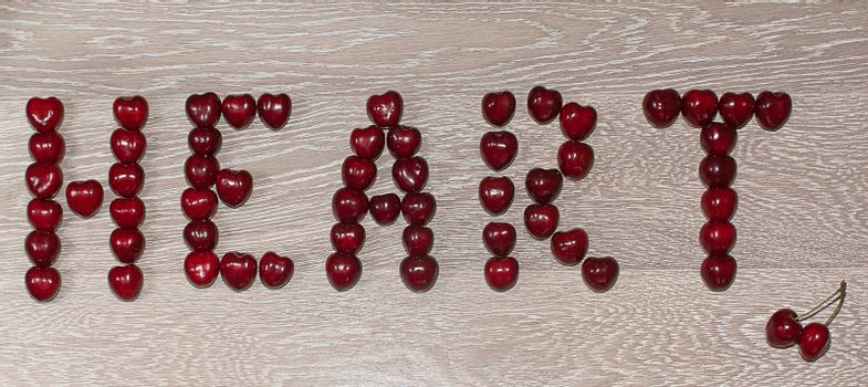 Text, heart written by cherry