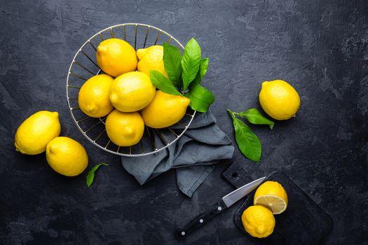 Lemon, fresh lemons with leaves