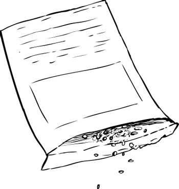 Outlined package with seeds pouring out