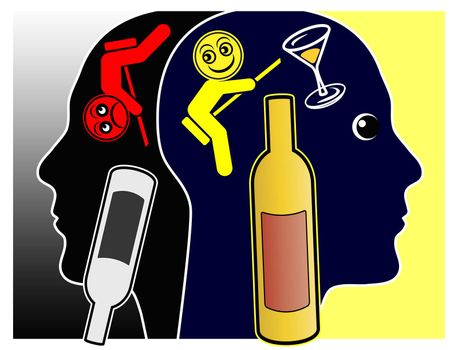 Alcoholic drinks may cause either pleasant feelings or depressions