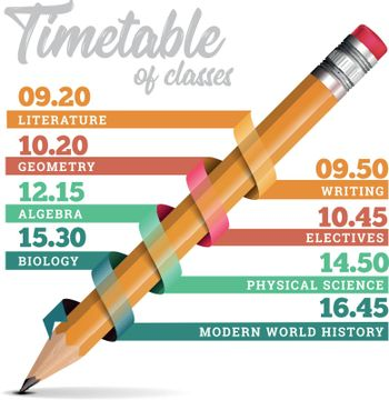 Timetable or timeline vector design template illustration with pencil on white background
