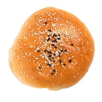 Hamburger bun isolated on a white background.