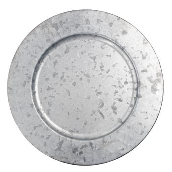 Round zink plate isolated on white background.