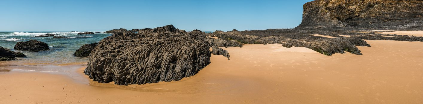 Beach with rocks in Almograve Alentejo Portugal