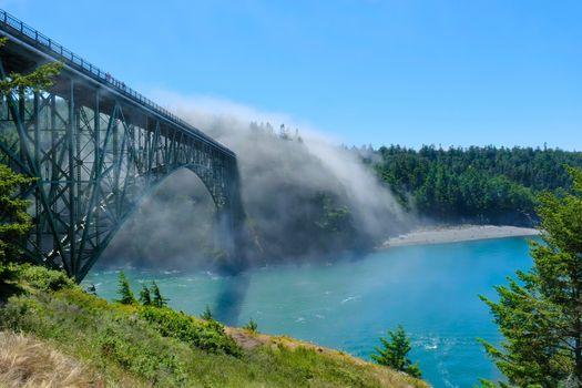 Scenic view of  Deception Pass Bridge in fog.