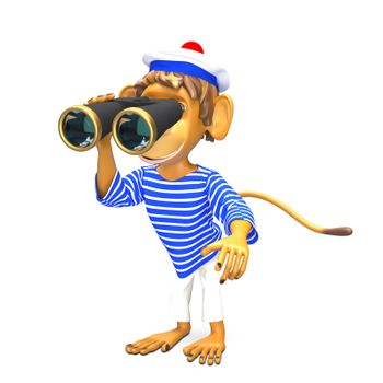 3D Illustration Monkey Sailor with Binoculars on White Background
