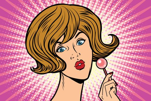 Pop art woman and Lollipop