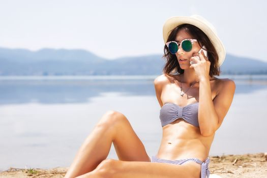 sexy girl talking on a phone