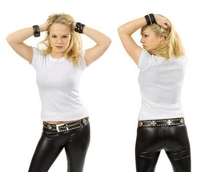 Blond woman wearing blank white shirt