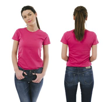 Brunette woman wearing blank pink shirt