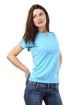 Sexy woman wearing blank light blue shirt