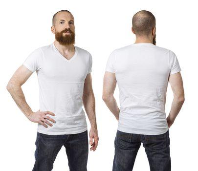 Man with beard wearing blank white shirt