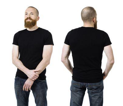 Man with beard wearing blank black shirt