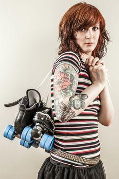 Beautiful roller derby woman