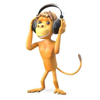 3D Illustration Monkey in the Headphones on White Background