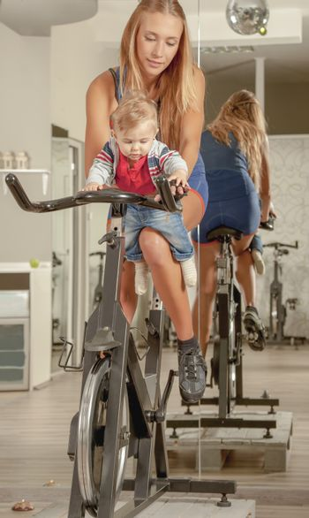 Mother Teaching Baby Cycling Jim Active Family