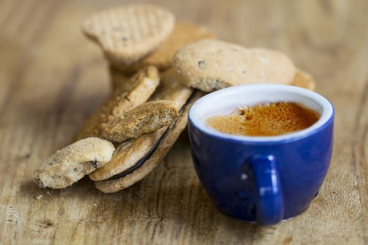espresso coffee and bran biscuits