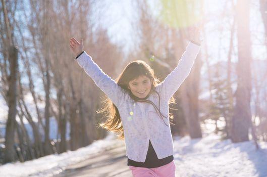 Cheerful girl running