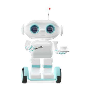 3D Illustration Little Robot with Coffee on a White Background