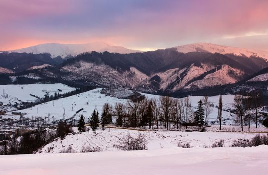 reddish winter evening over the mountains