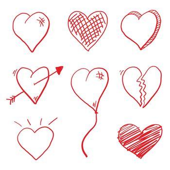 Red vector love heart doodle set