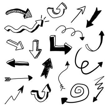Hand drawn vector arrow doodle set