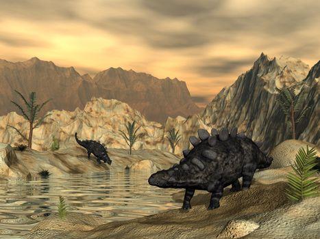 Chrichtonsaurus dinosaur next to a pond in the desert by sunset - 3D render