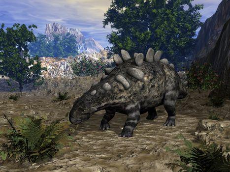 Chrichtonsaurus dinosaur ready to eat - 3D render