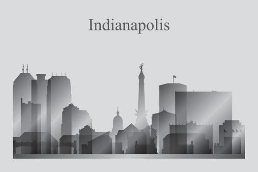 Indianapolis city skyline silhouette in grayscale