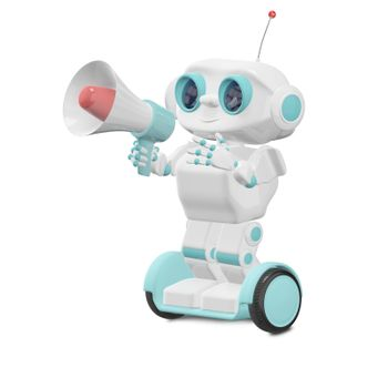 3D Illustration Robot with Megaphone on a White Background