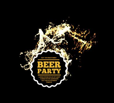 Beer party. Splash of beer with bubbles on a black background. Vector illustration on black