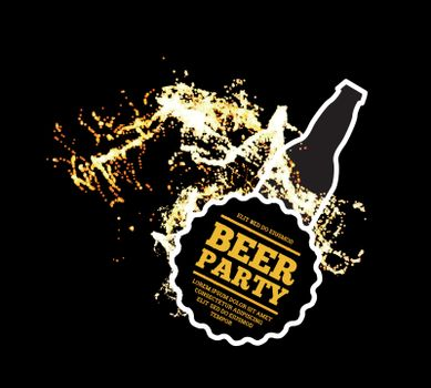 Beer party. Splash of beer with bubbles on a black background. Vector illustration with a silhouette of a bottle