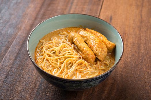 Hot and spicy Malaysian Curry Noodle or laksa mee, Malaysia cuisine.
