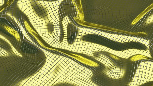 3D Illustration Abstract Golden Background with Glare and Silver